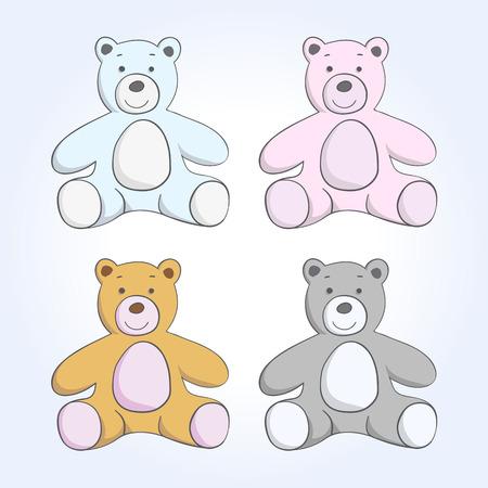 oso de peluche: juguete suave vector oso conjunto de dibujos sobre un fondo azul