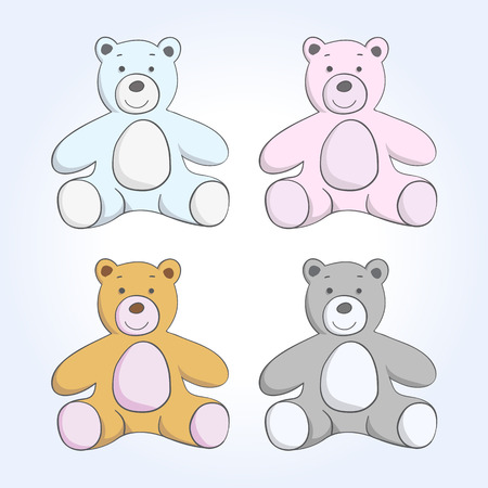 cute teddy bear: vector soft toy bear sketch set on a blue background Illustration