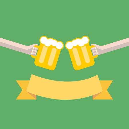 clink: vector clink glasses and retro ribbon. two hands toasting glasses of beer. creative friendship concept Illustration