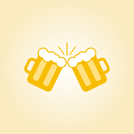 clink: vector clink glasses logo. toasting glasses of beer. creative friendship concept