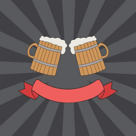 clink: vector hand drawn clink glasses logo. sketch toasting mugs of beer. creative friendship concept Illustration