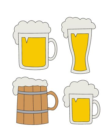 stein: Vector hand drawn mugs of beer, glass of beer and cap of beer set. Sketch elements for oktoberfest festival - Weizen Glass, Seidel, Stein Illustration