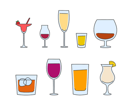 whisky glass: vector set of hand drawn glasses. alcohol tableware creative concept sketch