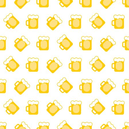 vector pint tankards background. mug of beer bar seamless pattern