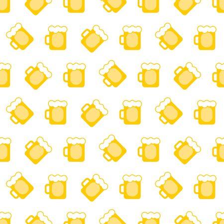 pint: vector pint tankards background. mug of beer bar seamless pattern
