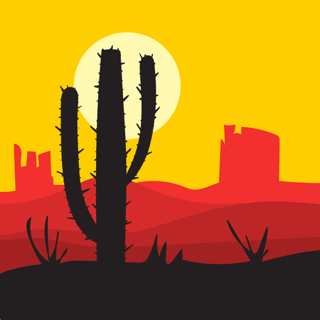 cactus desert: vector sunset landscape with cactus, desert and canyons