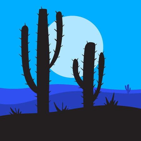 cactus desert: vector nightlandscape with cactus, desert and canyons