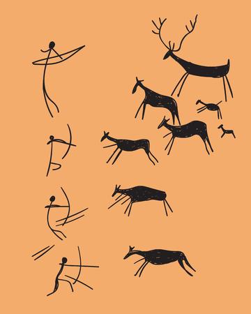 벡터 손으로 사냥을 묘사 한 암석 조각을 그려. 오렌지 배경에 개념 고대의 스케치 일러스트