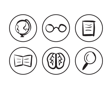 contoured: vector hand drawn contoured geography icons set. Isolated sketch concept