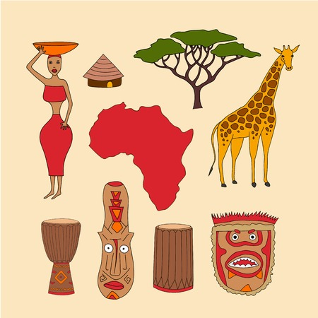 djembe: Hand drawn set of african symbols - bungalows, girl with a bowl, giraffe, ritual mask, map, acacia, djembe, dunumba, music instruments. Isolated national elements sketch made in vector. Travel to africa icons for cards and web pages. Illustration