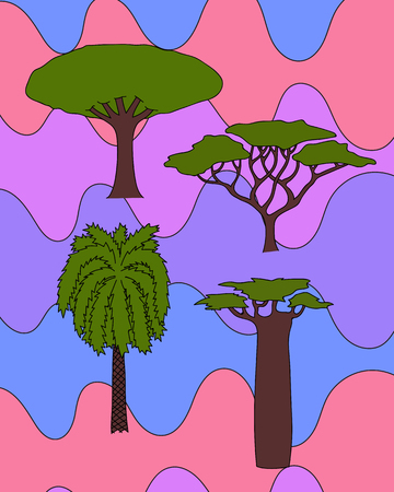 baobab tree: Vector floral hand drawn african trees - date palm, acacia, baobab tree, dragon tree. isolated digital nature sketch