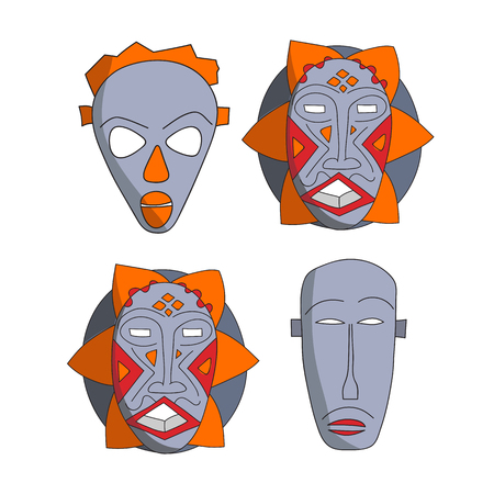 ritual: Vector hand drawn african masks set. Isolated national ritual elements sketch collection