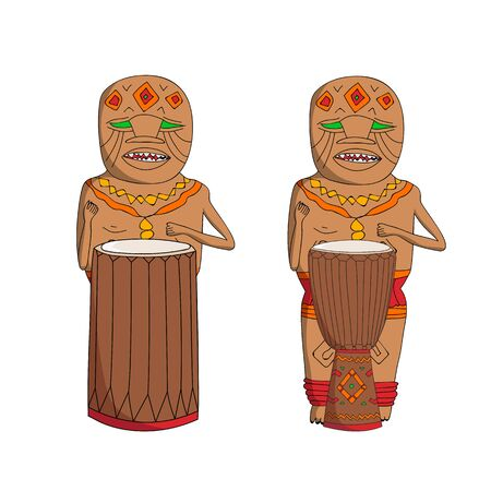 percussionist: Vector hand drawn african music instrument players. Sketch African Isolated national shamans