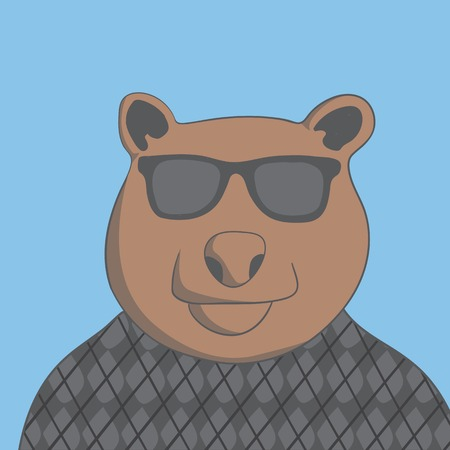 brutal: brutal bear with glasses and a sweater on a blue background