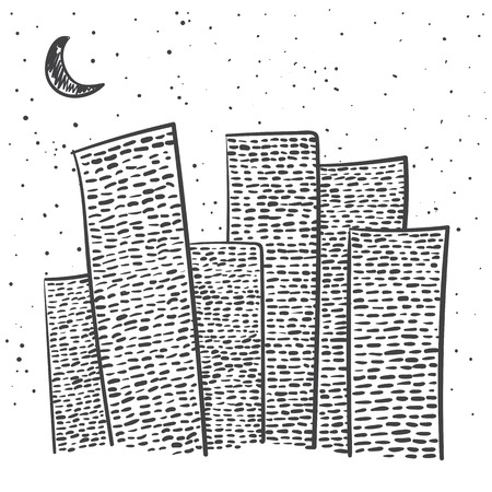 moon  metropolis: Vector set of hand-drawn night city on white background