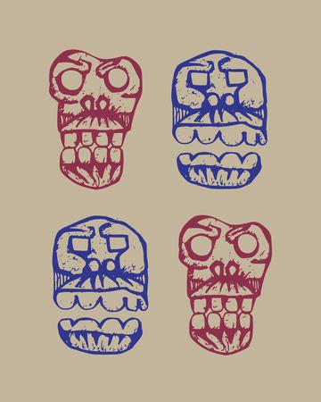 brutal: human skulls dark brutal sketch set on a beige background