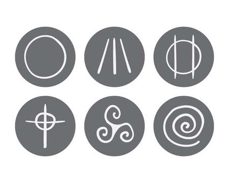 triskele: vector hand drawn symbols of Druidism icon set on a white background