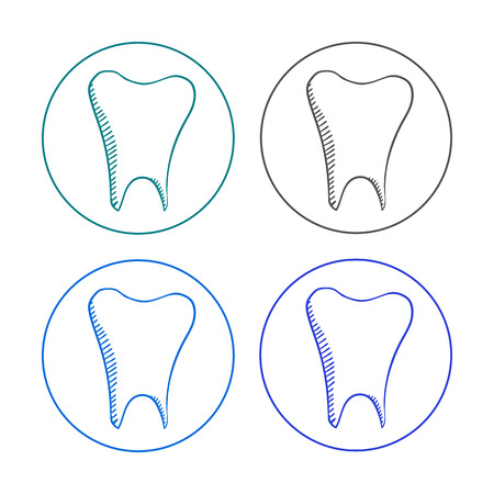 dent: vector sketch logo tooth set. hand drawn dent on a white background Illustration