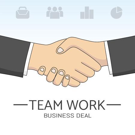 business team: vector handshake sketch. Business Partneship. Creative team work. Hand drawn communication concept