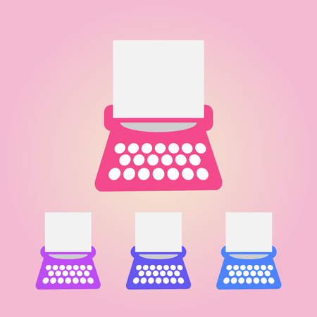 vector typewriter icons set on a black background