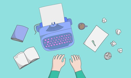 vector hand drawn illustration concepts for creative writing. Realistic writer workplace organization sketch. Illustration