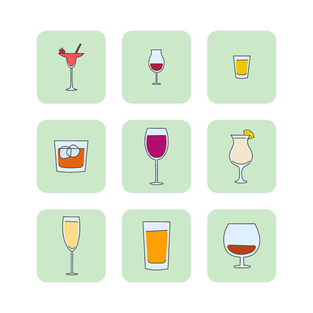 whisky glass: vector set of hand drawn glasses. alcohol tableware creative concept sketch icons