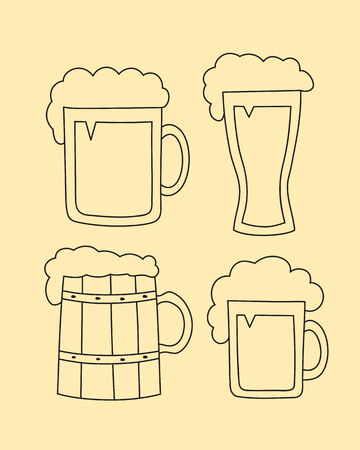 Vector hand drawn mugs of beer, glass of beer and cap of beer set. Sketch elements for oktoberfest festival - Weizen Glass, Seidel, Stein Illustration