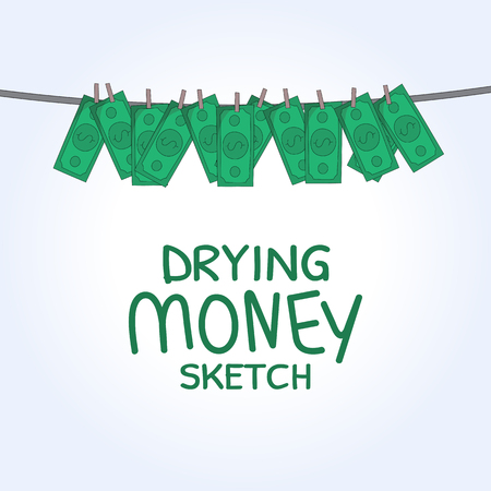 laundering: vector Hand drawn Washed money concept. drying money creative sketch