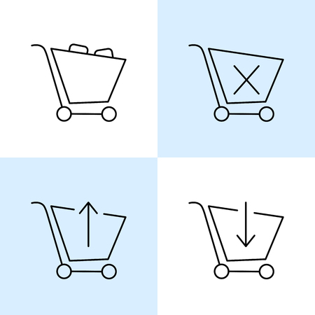 add to shopping cart icon: Vector contured online shopping carts. add to cart, modify, pay icons concept sketch. Illustration