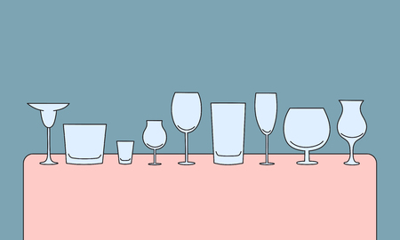highball: vector set of hand drawn empty glasses on the table. alcohol tableware creative concept sketch Illustration