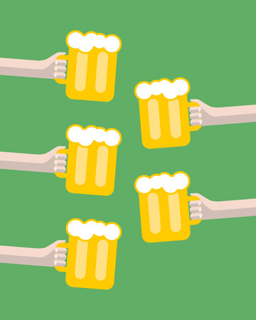 clink: vector clink glasses creative friendship concept. Friday party. five hands toasting glasses of beer. oktoberfest and St. Patricks Day illustration