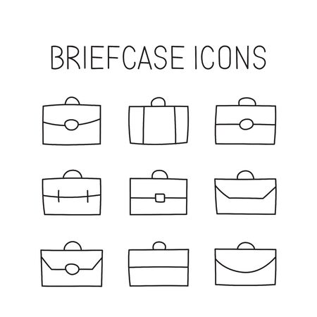 business travel: vector hand drawn briefcase icons set. Creative business travel concept sketch