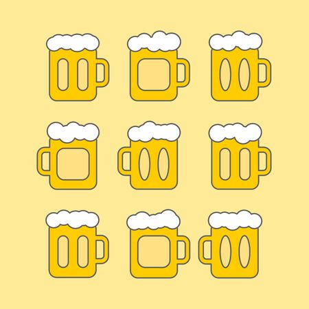 pint: vector pint tankards Oktoberfest set. mug of beer bar icons. emblem or beer party