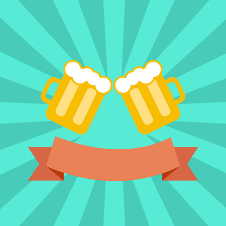 clink: vector flat clink glasses and retro ribbon. toasting glasses of beer. creative friendship concept