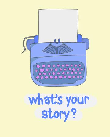 writer: illustration writer concept sketch of a manual vintage stylish typewriter Illustration
