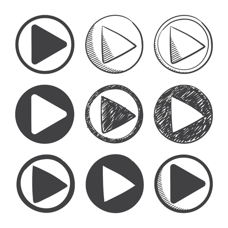 nine hand drawn and material design play icon set. sketch symbol on a white background Stock Illustratie