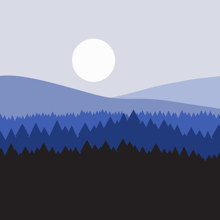 overlook: vector majestic concept forest mountains creative background