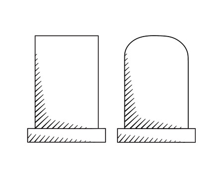 christian halloween: Vector hand drawn headstones. Graveyard sketch concept