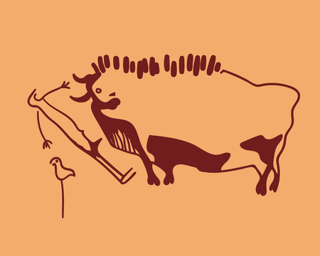 weft: vector hand drawn cave drawing bull, frightened man and weft. concept ancient sketch on a orange background Illustration