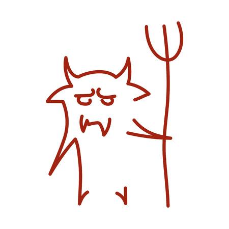 satanas: vector dibujado a mano diablo. Creativa satan esbozo del concepto