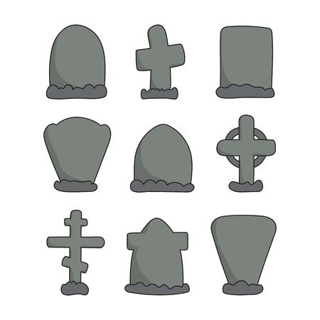 Vector hand drawn headstones. Creative crosses and gravestones. Graveyard sketch