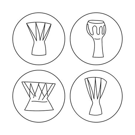 djembe: Djembe hand drawn icon set. Digital vector illustration sketch. Illustration