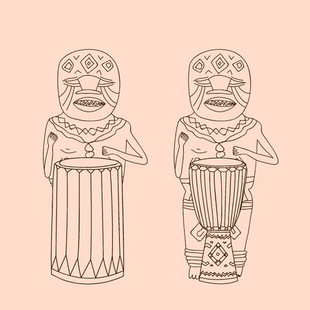 percussionist: Vector hand drawn djembe players. Sketch African Isolated national shamans