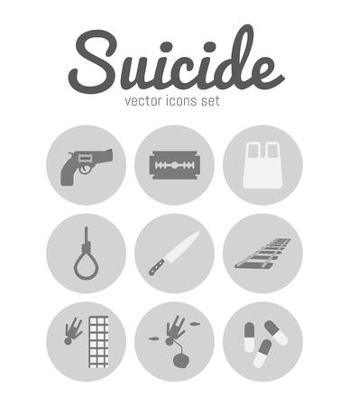 suicidal: Vector methods of suicide icons set. Sad symbols