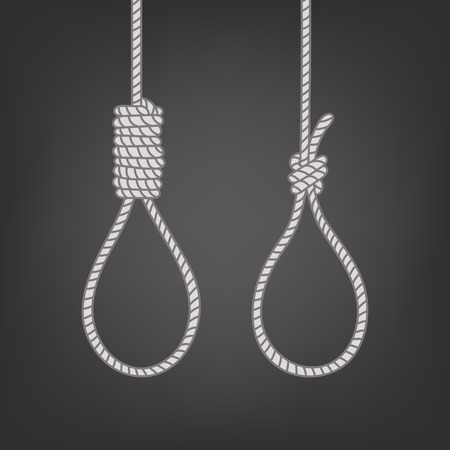 Vector hand drawn nodes for hanging. Concept suicide sketch. Scaffold node, Lynch's loop, tightens noose  イラスト・ベクター素材