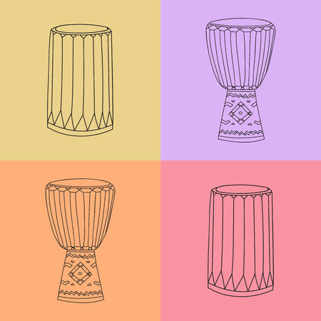 djembe: Vector hand drawn djembe and dunumba. African music instrument symbols sketch