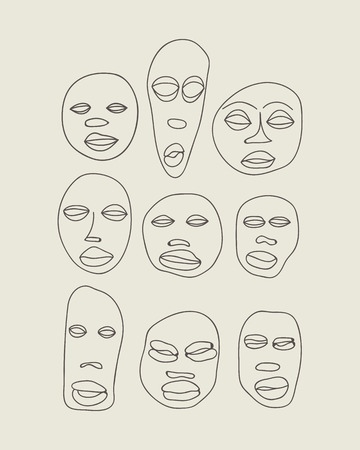 ritual: Vector hand drawn primitive african masks set. Isolated national ritual elements sketch collection Illustration