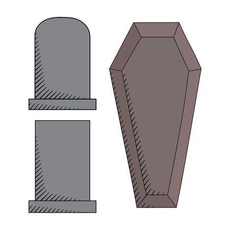 gravestones: Vector hand drawn graveyard icons set. Creative coffin and gravestones sketch Illustration