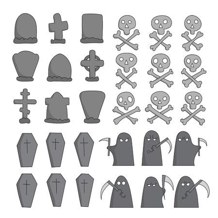 christian halloween: Vector hand drawn graveyard collection. Creative concept crosses, coffins, gravestones, skull and bones, grim pappers sketch.