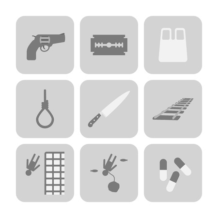 smother: Vector methods of suicide icons set. Sad symbols